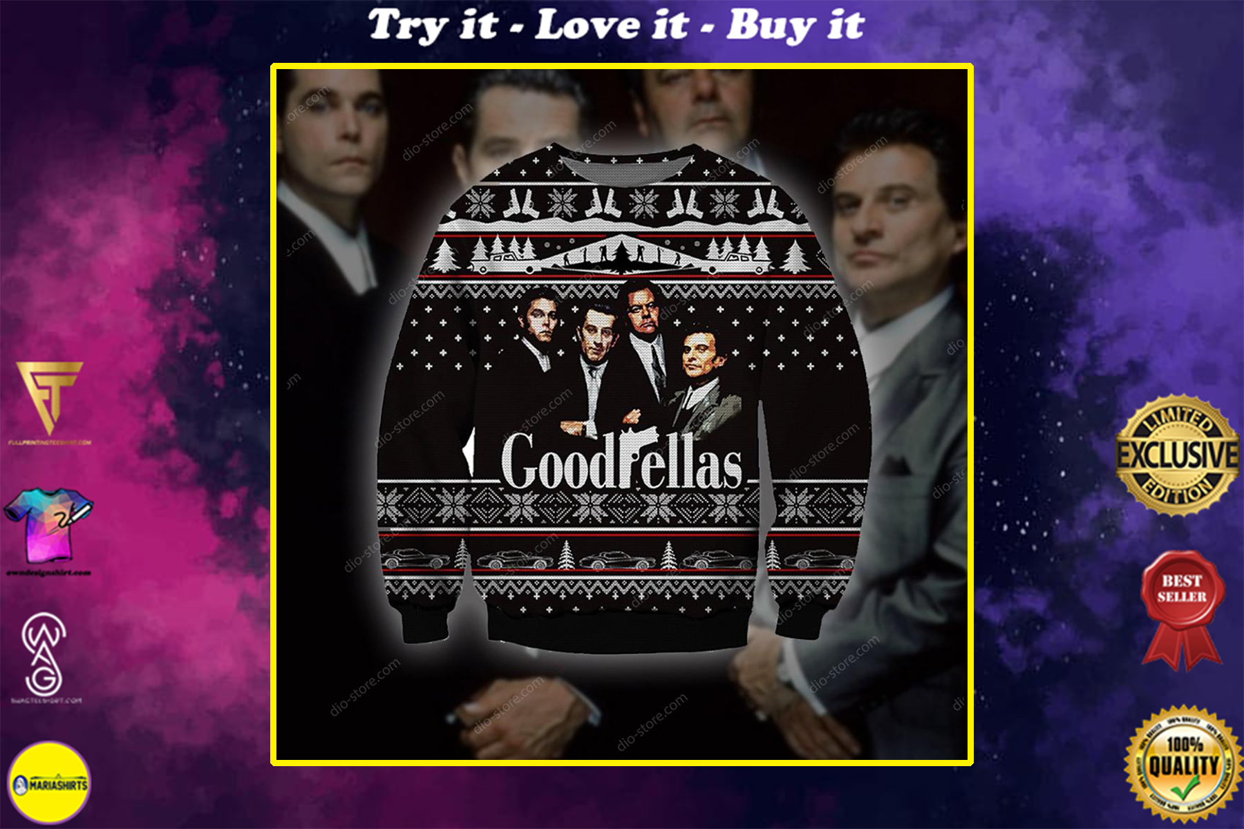 goodfellas all over printed ugly christmas sweater