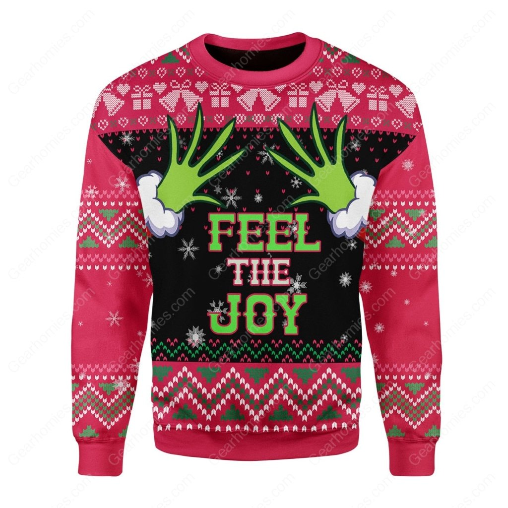 grinch feel the joy all over printed ugly christmas sweater 1
