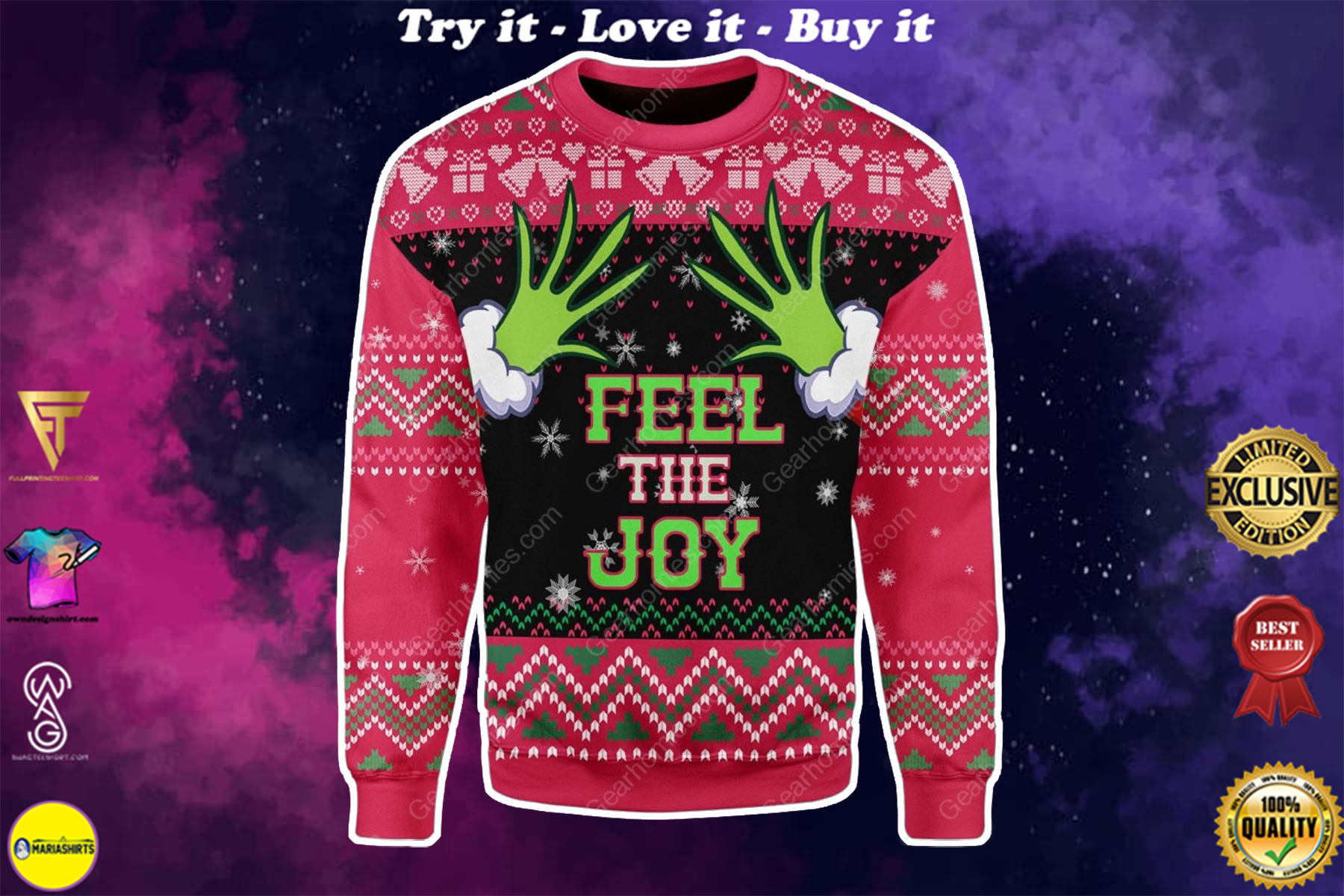 grinch feel the joy all over printed ugly christmas sweater
