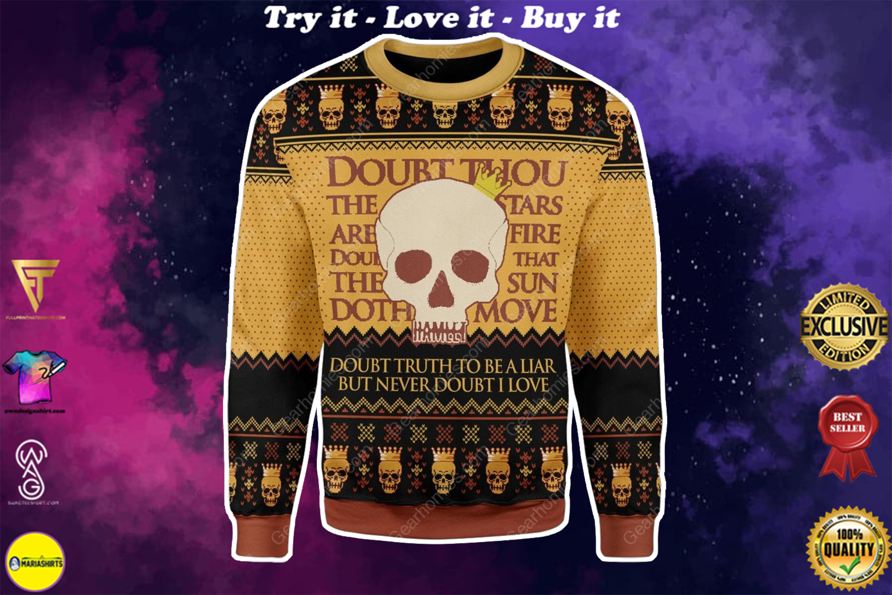 hamlet william shakespeare doubt truth to be a liar ugly christmas sweater