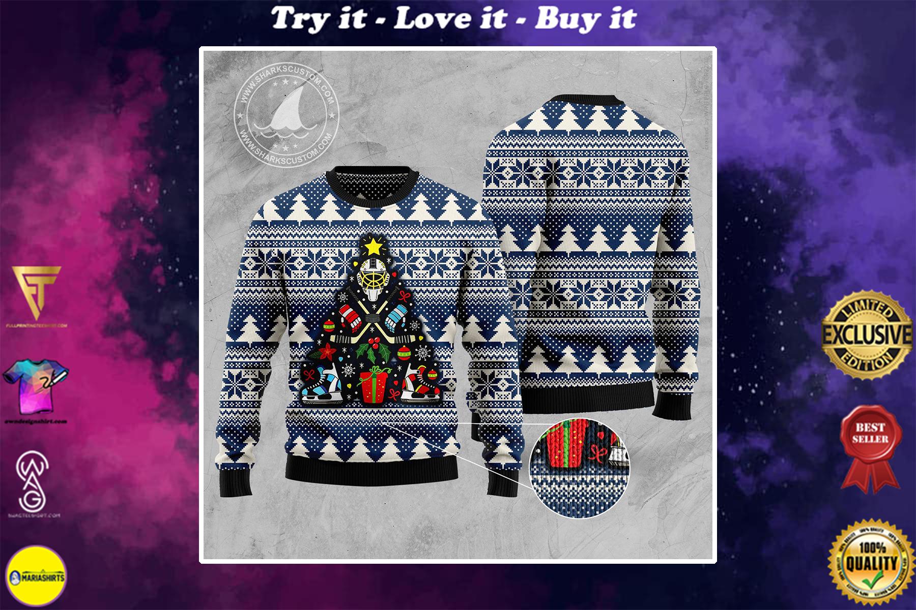 hockey christmas tree all over printed ugly christmas sweater
