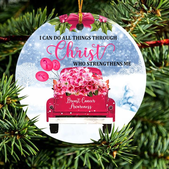 i can do all things through Christ who strengthens me breast cancer awareness ornament 2
