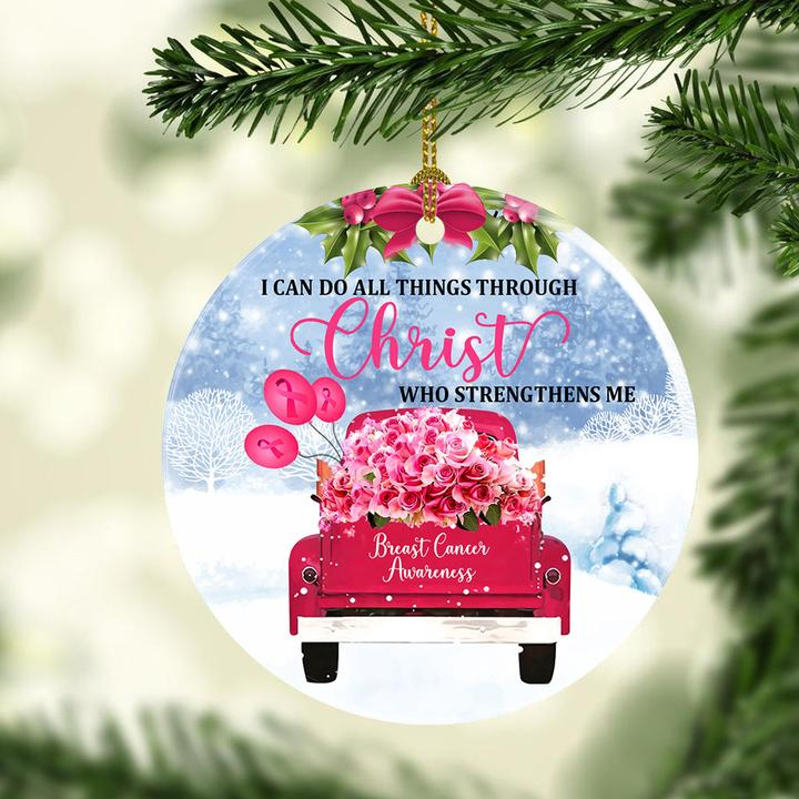 i can do all things through Christ who strengthens me breast cancer awareness ornament 3