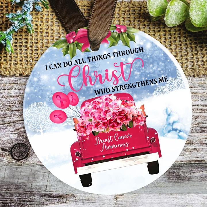 i can do all things through Christ who strengthens me breast cancer awareness ornament 4