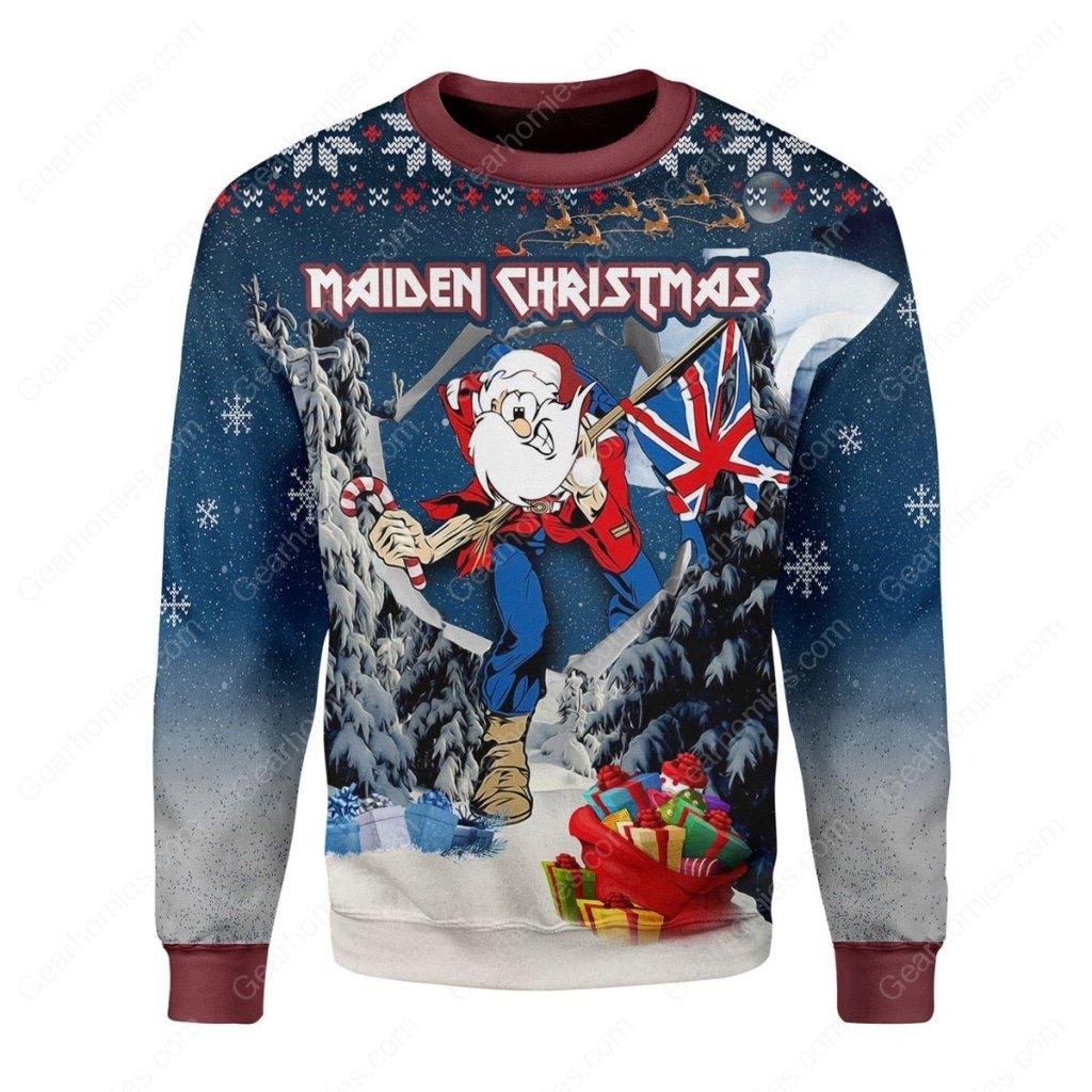iron maiden christmas all over printed ugly christmas sweater 3