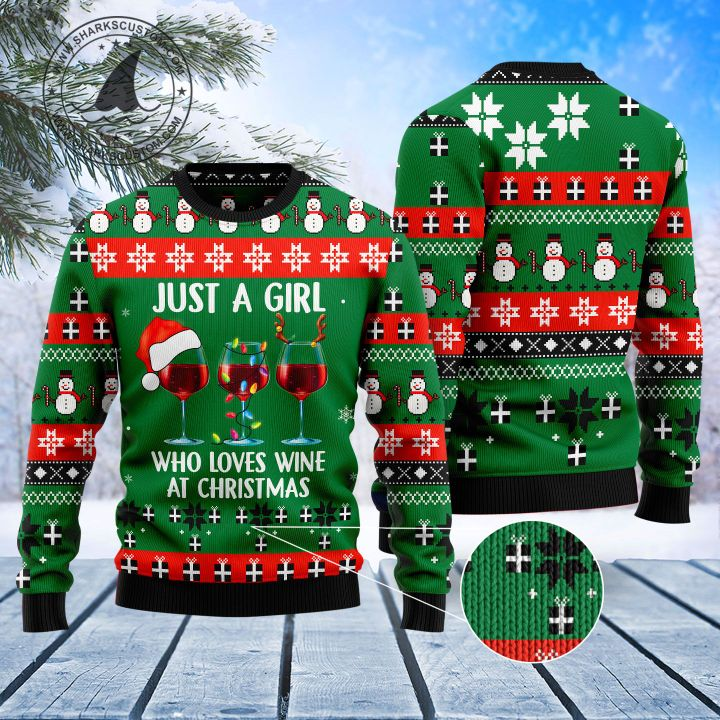 just a girl who loves wine at christmas all over printed ugly christmas sweater 1