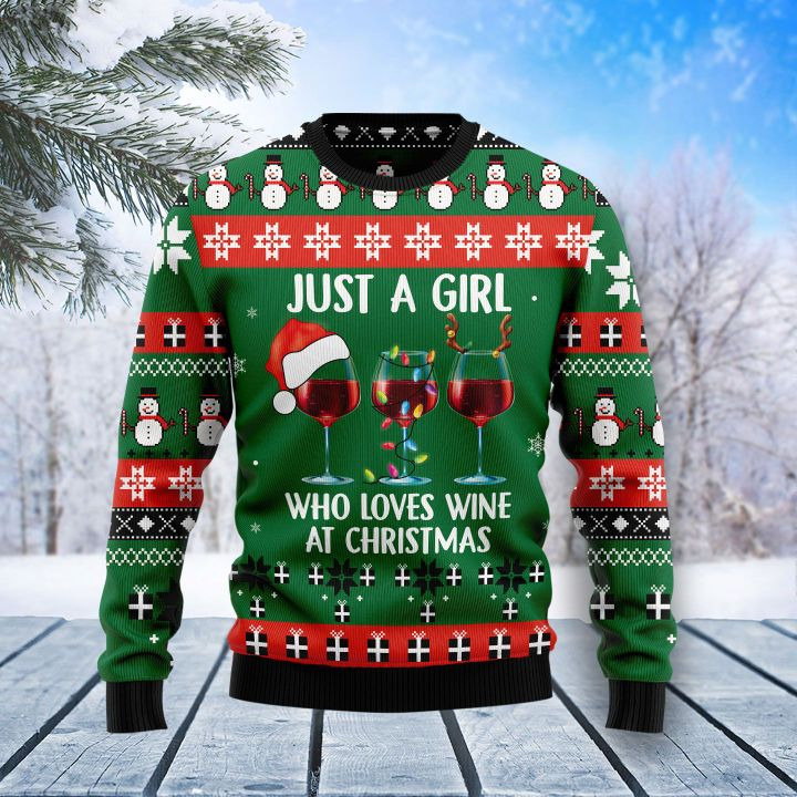 just a girl who loves wine at christmas all over printed ugly christmas sweater 2
