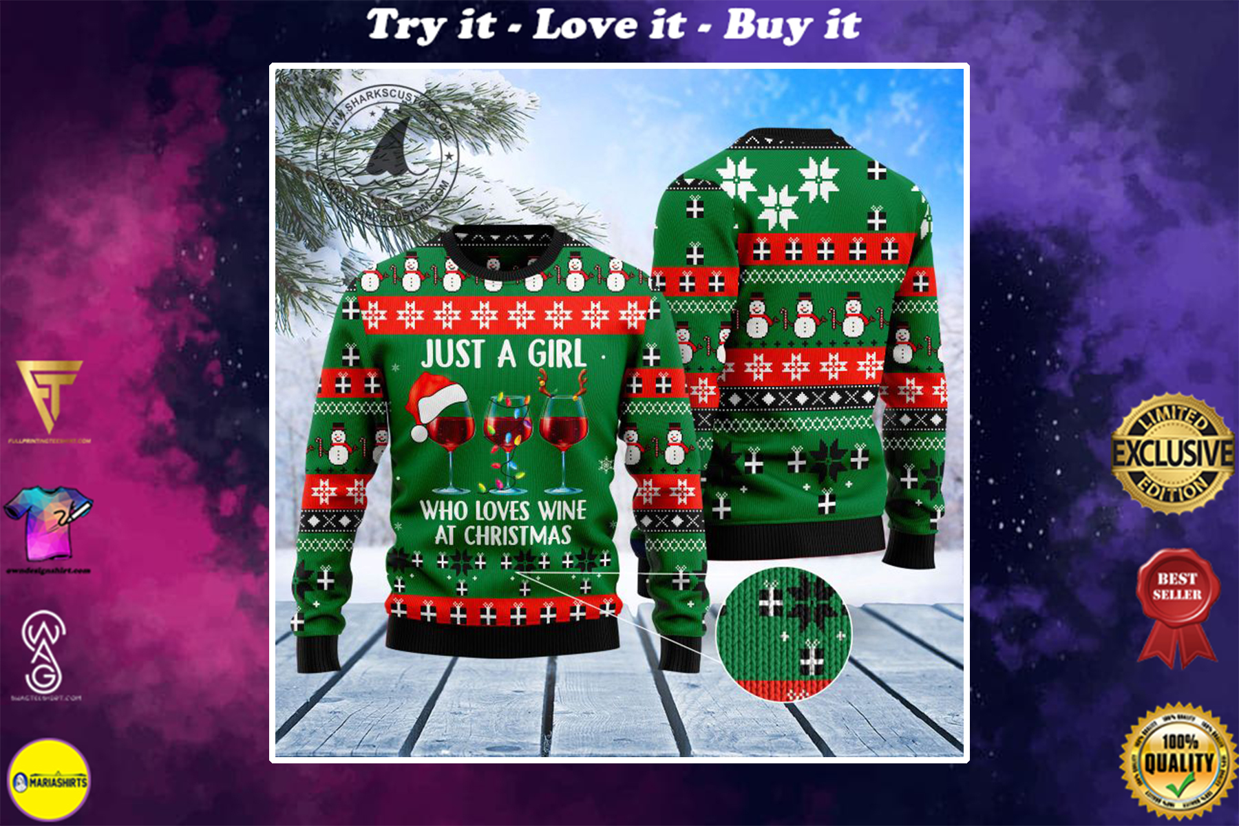 just a girl who loves wine at christmas all over printed ugly christmas sweater