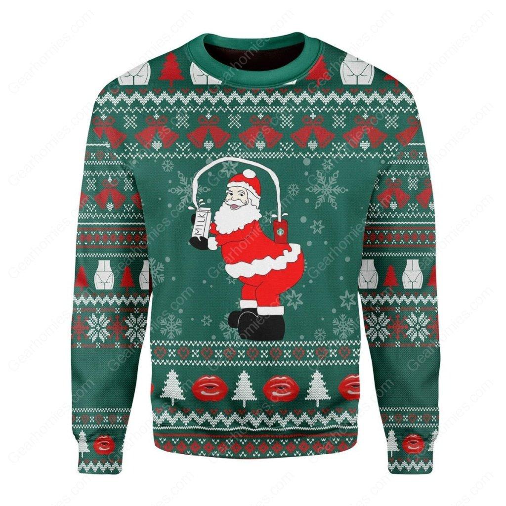 kim kardashian santa claus all over printed ugly christmas sweater 1