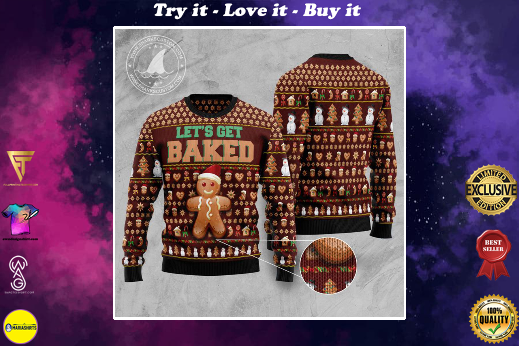 lets get baked all over printed ugly christmas sweater