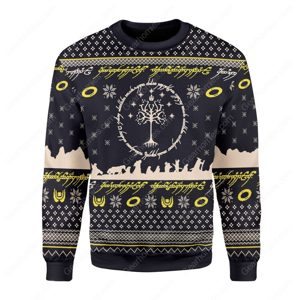 lord of the rings all over printed ugly christmas sweater 1