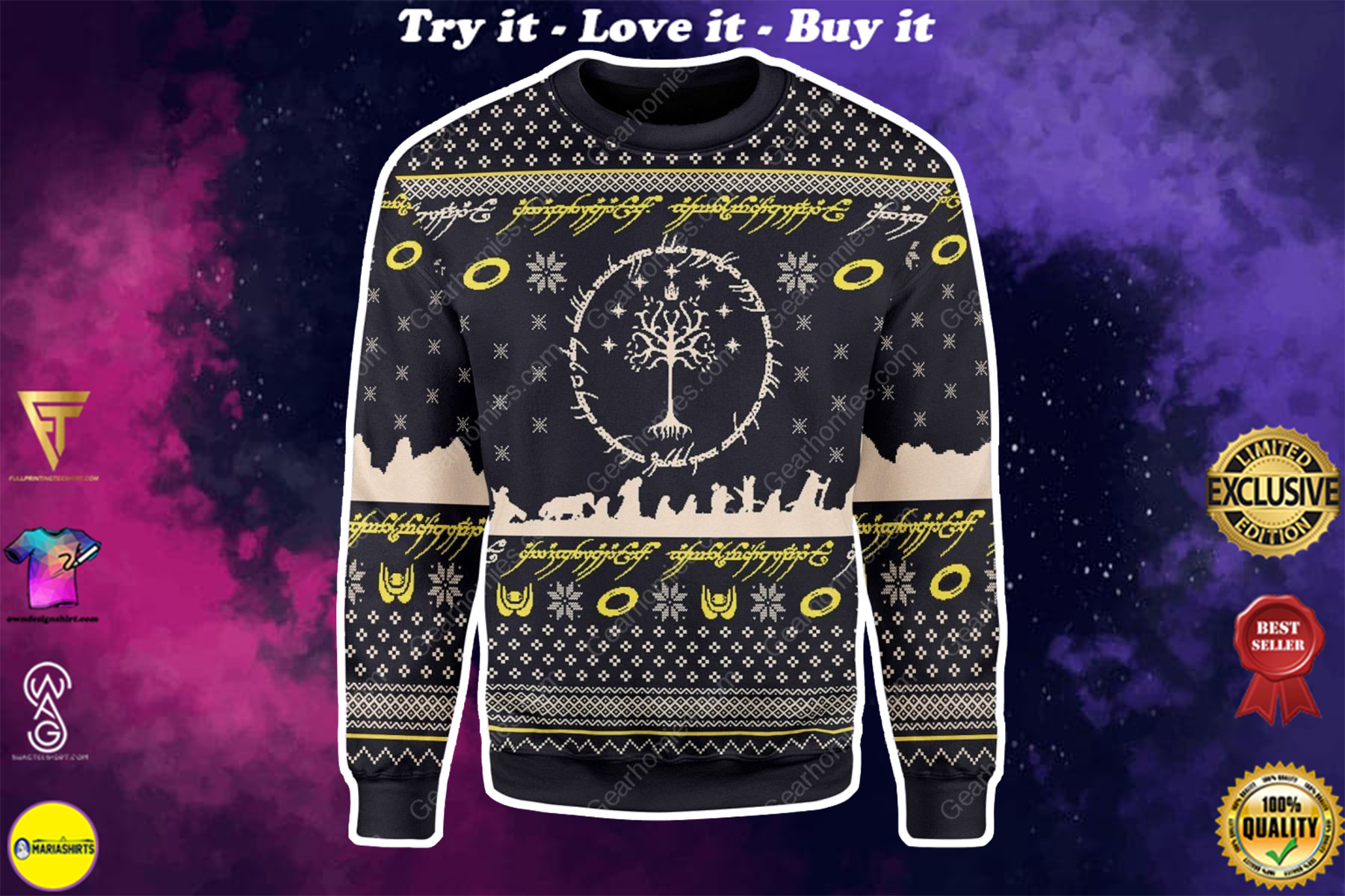 lord of the rings all over printed ugly christmas sweater
