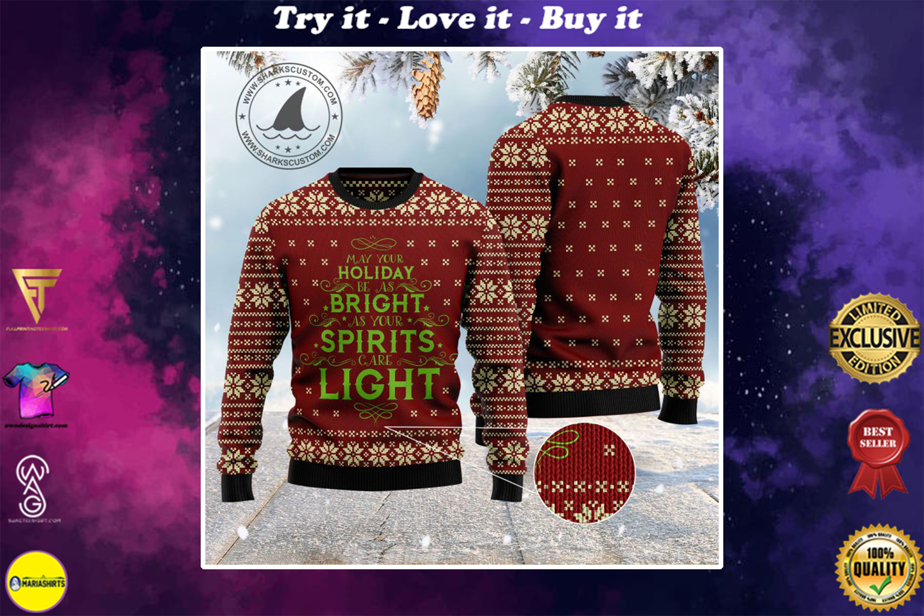 may your holiday be as bright as your spirits are light ugly christmas sweater