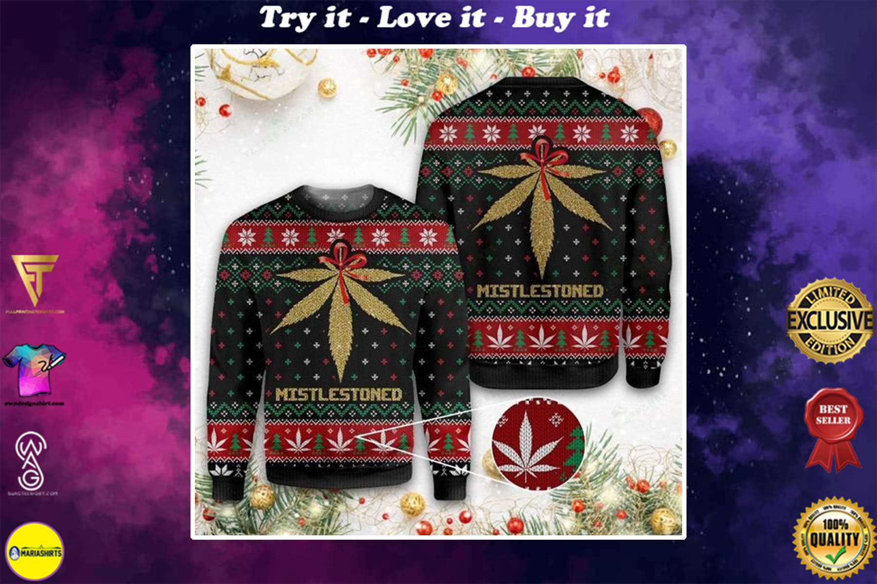 merry christmas weed mistlestoned all over printed ugly christmas sweater