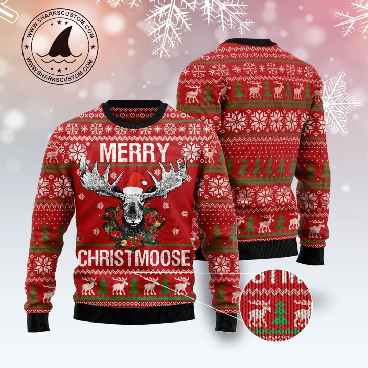 merry christmoose all over printed ugly christmas sweater 1