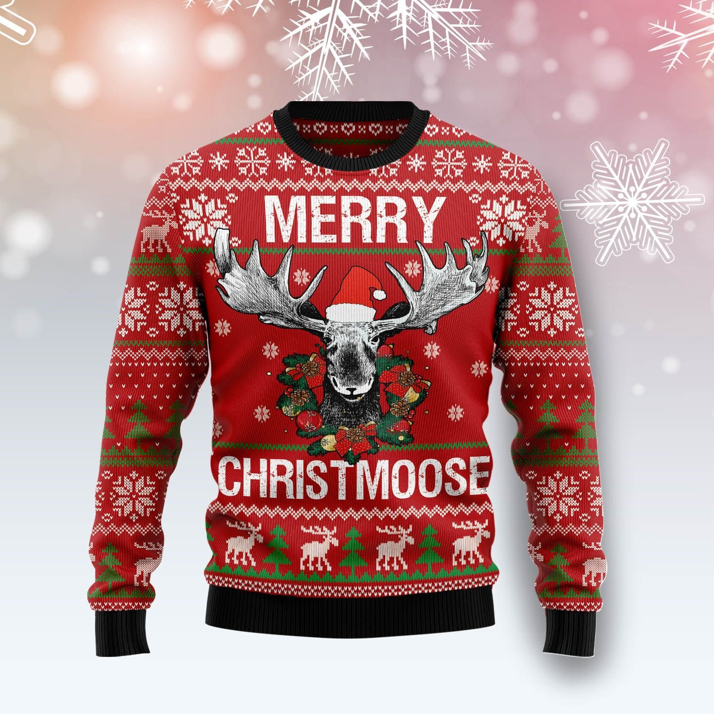 merry christmoose all over printed ugly christmas sweater 3