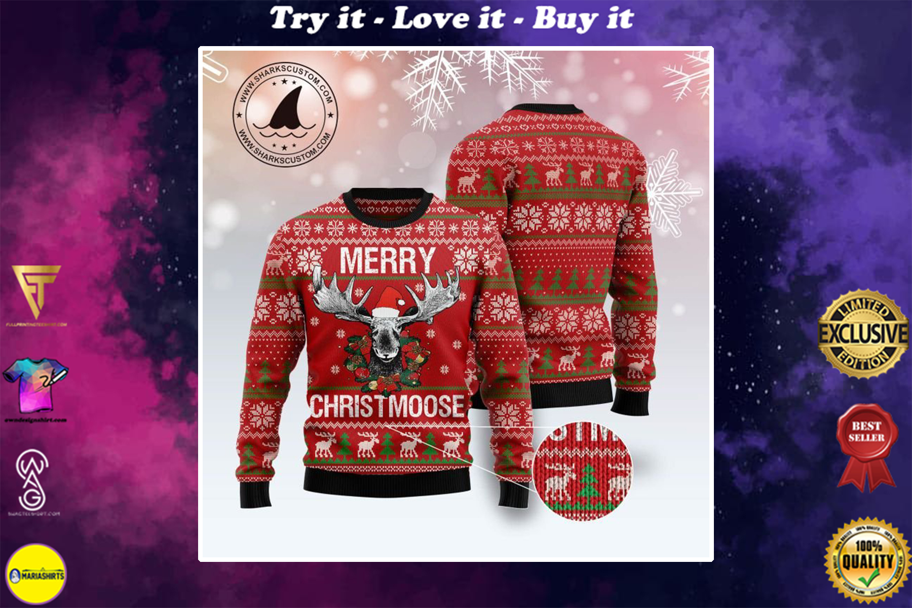 merry christmoose all over printed ugly christmas sweater