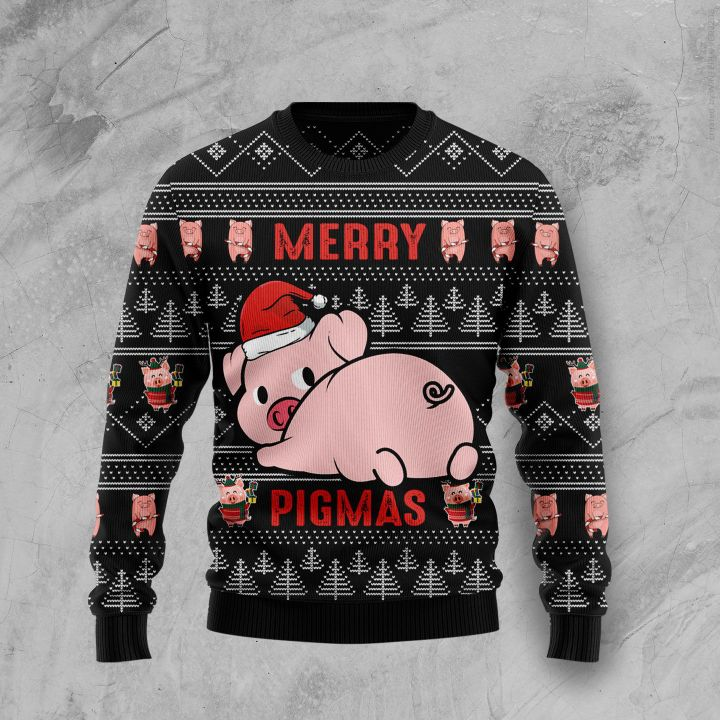 merry pigmas all over printed ugly christmas sweater 3