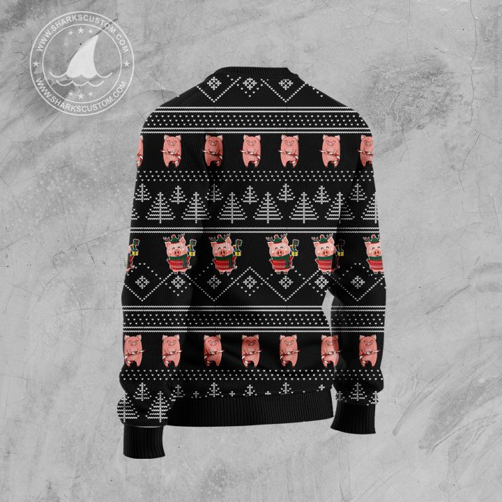 merry pigmas all over printed ugly christmas sweater 4