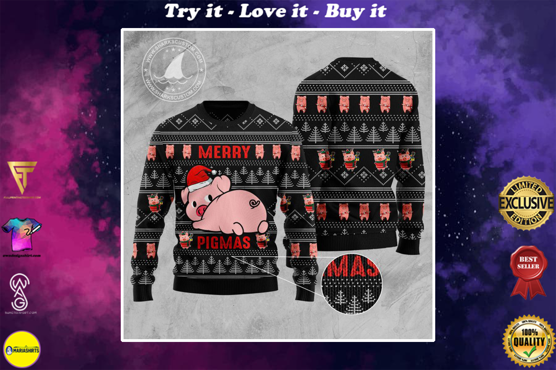merry pigmas all over printed ugly christmas sweater