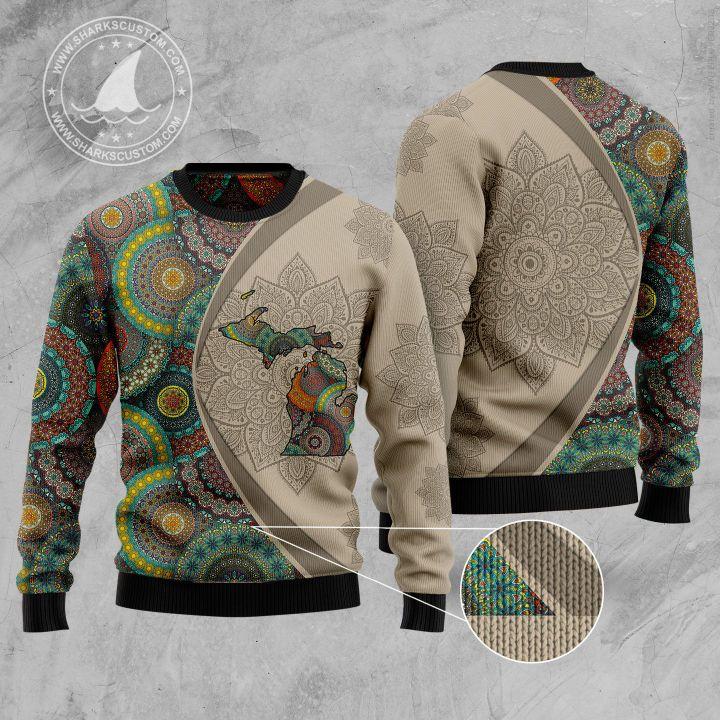 michigan mandala all over printed ugly christmas sweater 1