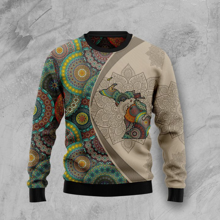 michigan mandala all over printed ugly christmas sweater 2