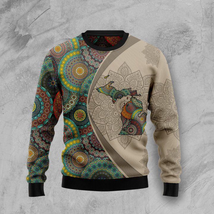 michigan mandala all over printed ugly christmas sweater 3