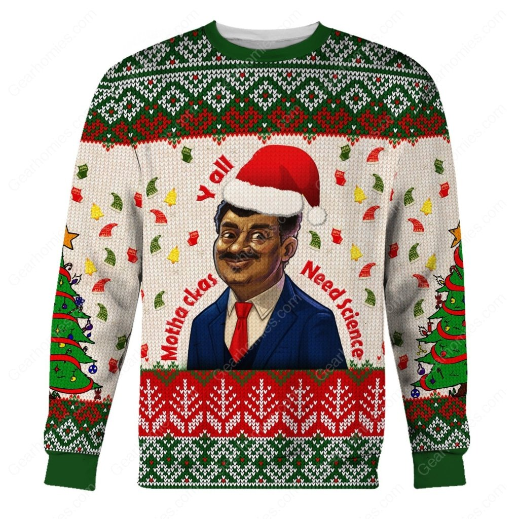 neil degrasse tyson yall need science all over printed ugly christmas sweater 1