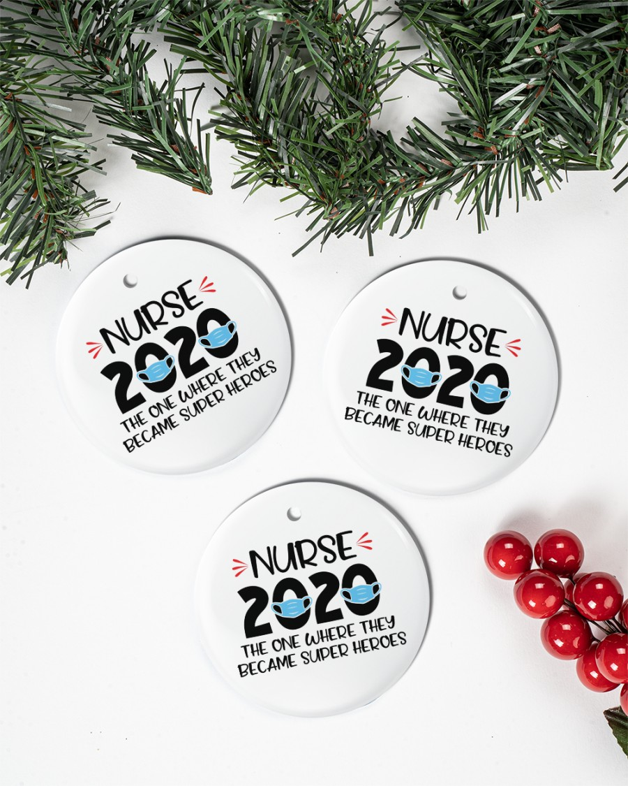 nurses 2020 the one where they become superheroes ornament 4