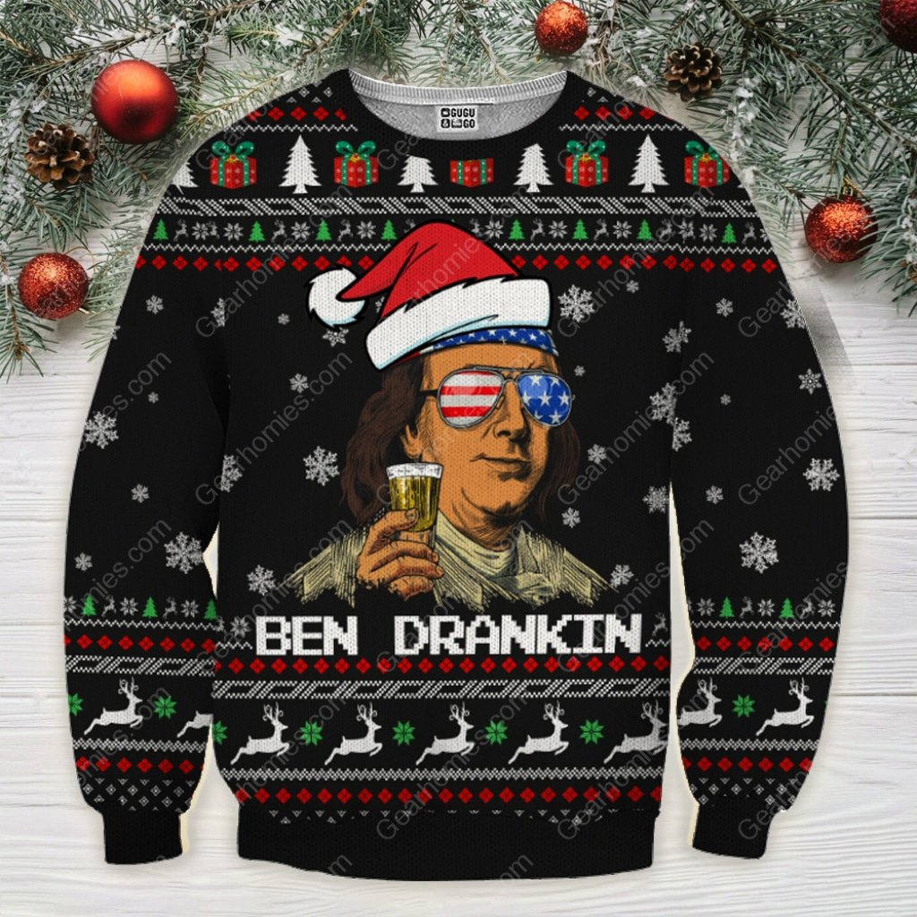 patriotic ben drankin santa claus all over printed ugly christmas sweater 3