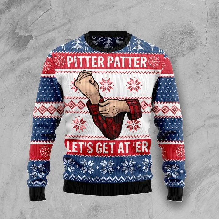 pitter patter lets get at er all over printed ugly christmas sweater 2