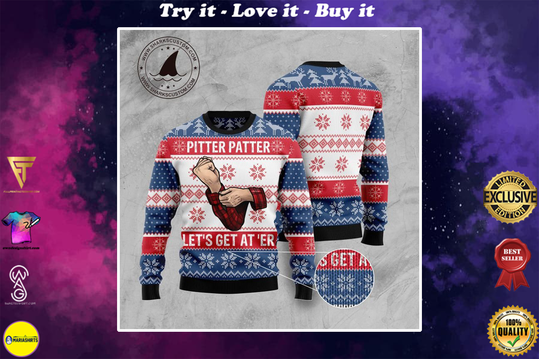 pitter patter lets get at er all over printed ugly christmas sweater
