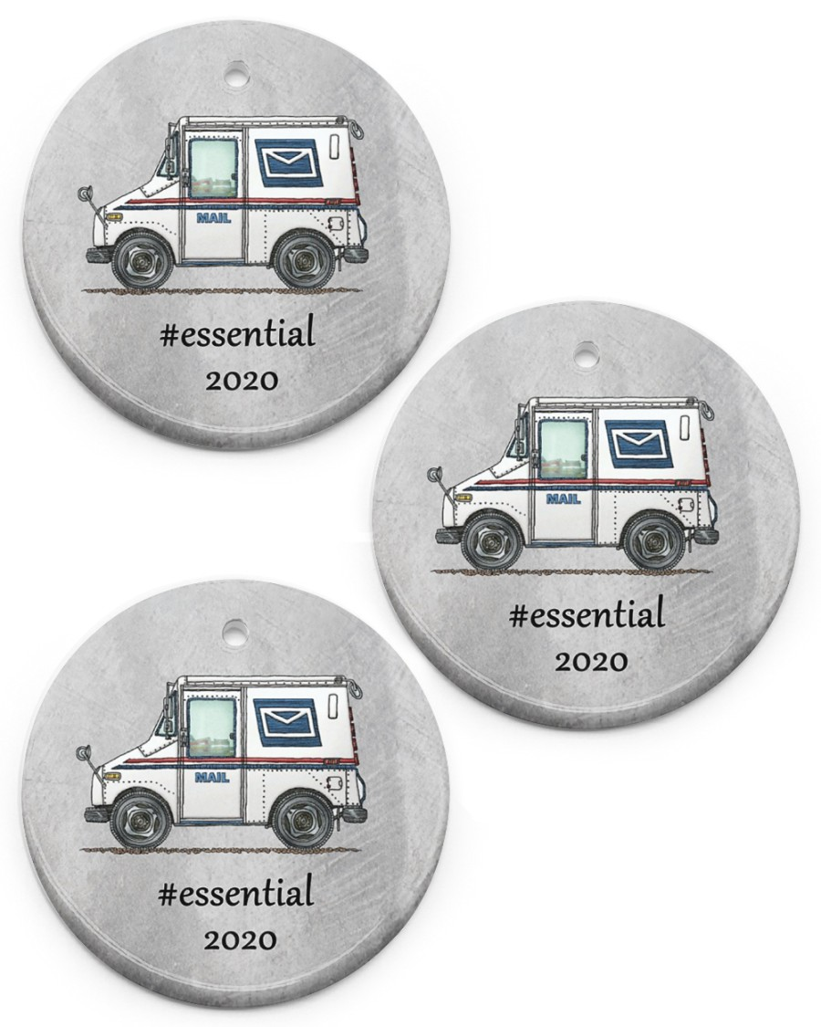 postal worker mail carrier circle christmas ornament 2