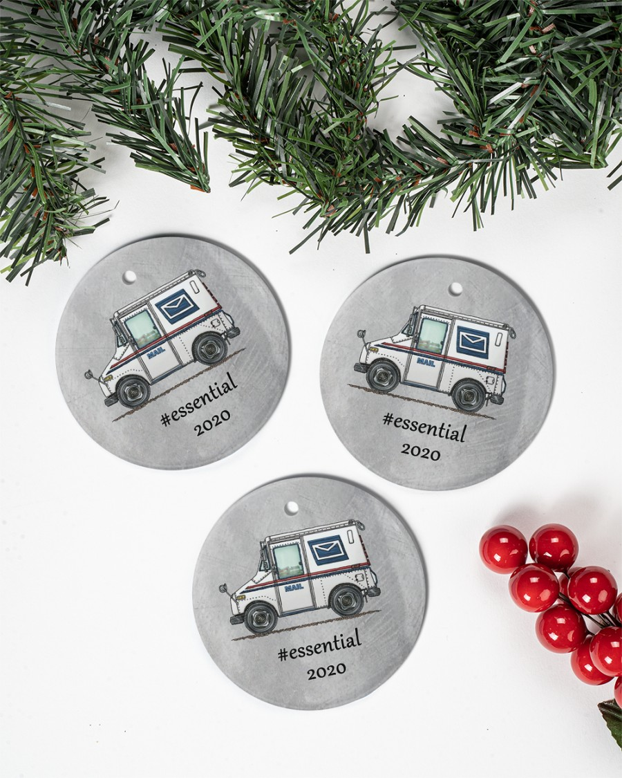 postal worker mail carrier circle christmas ornament 3