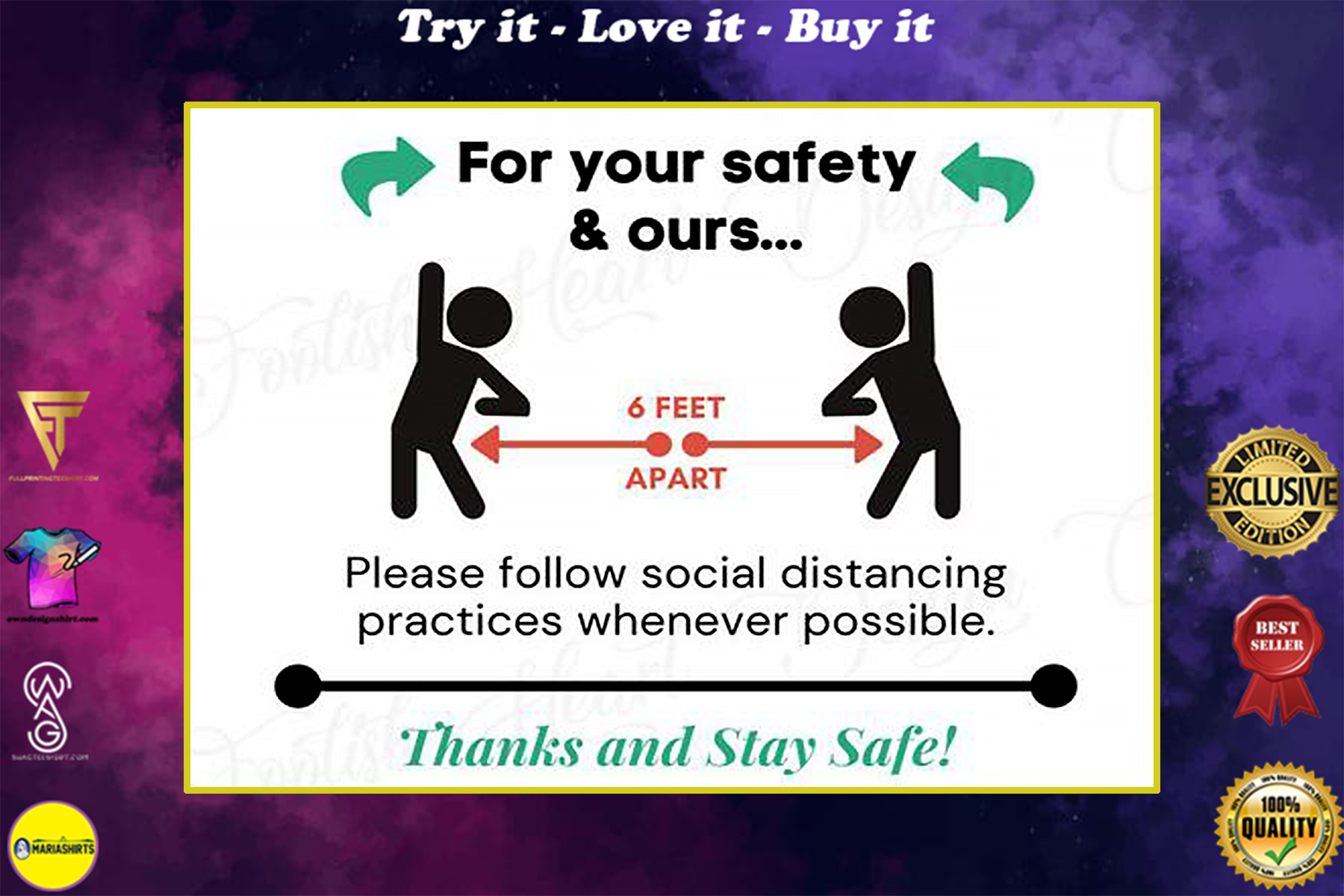 practice social distancing for your safety and ours poster