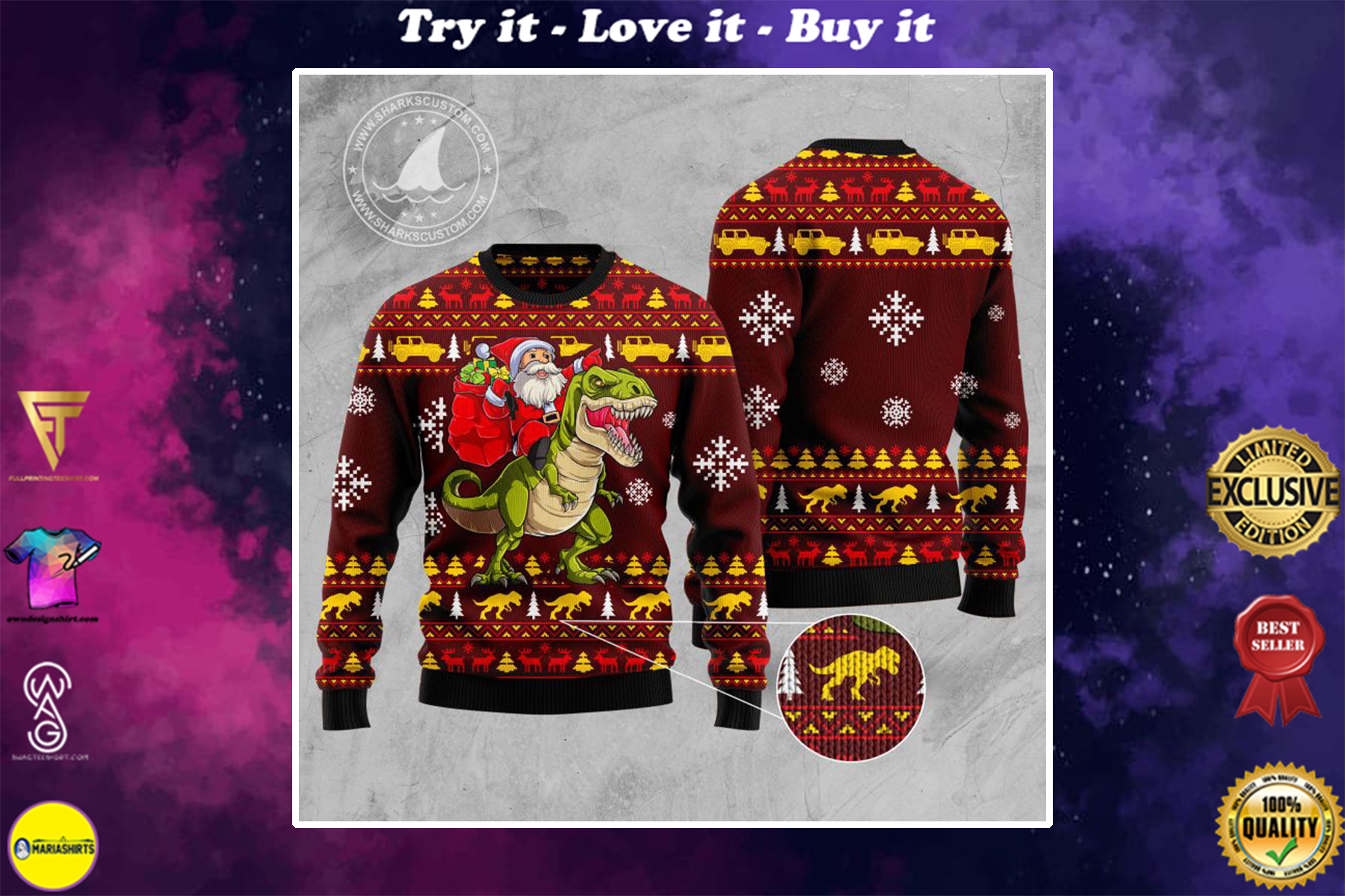 santa and dinosaur all over printed ugly christmas sweater