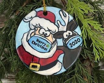 santa and reindeer with mask christmas ornament 2