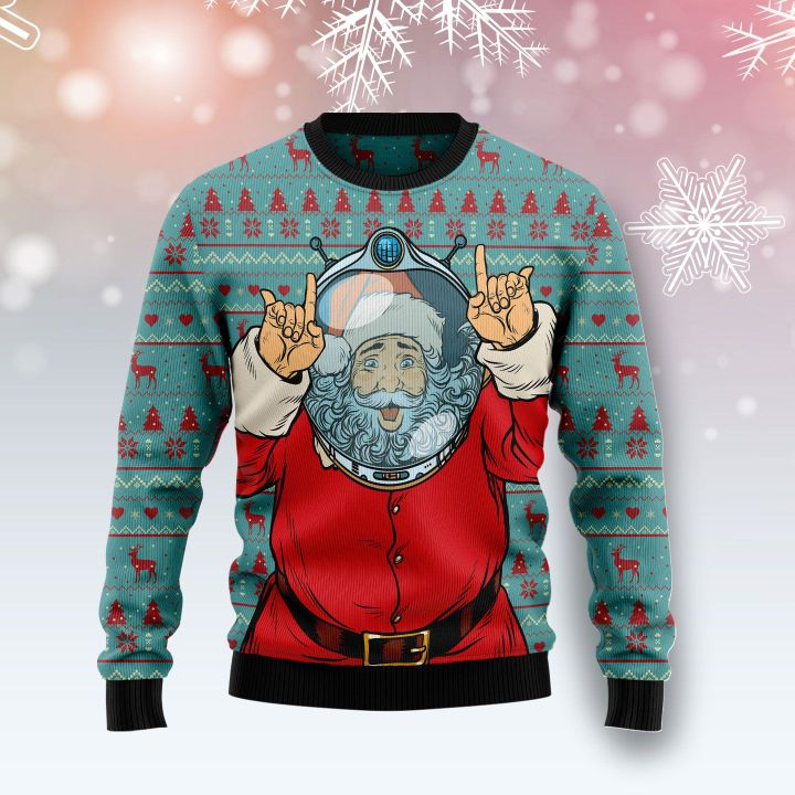 santa claus astronaut all over printed ugly christmas sweater 2