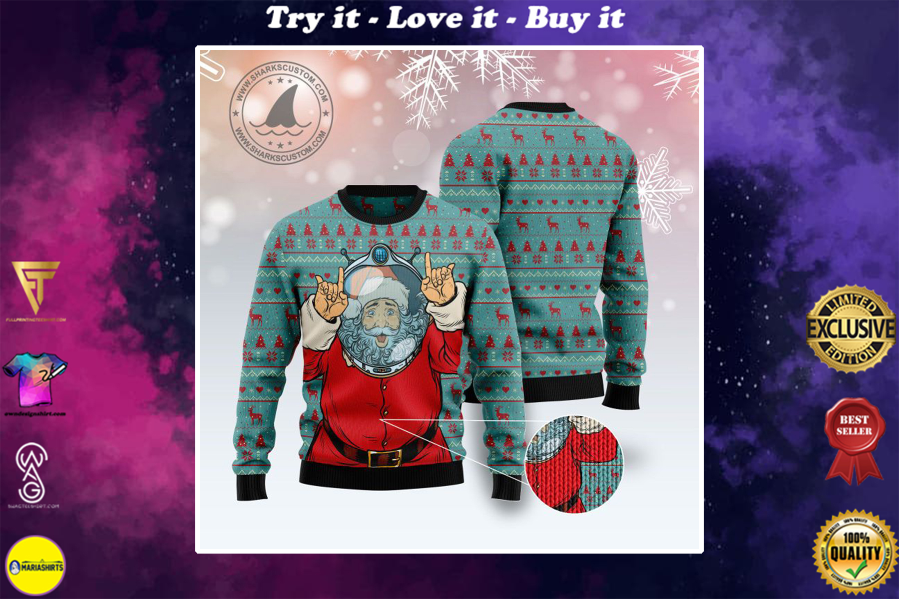 santa claus astronaut all over printed ugly christmas sweater