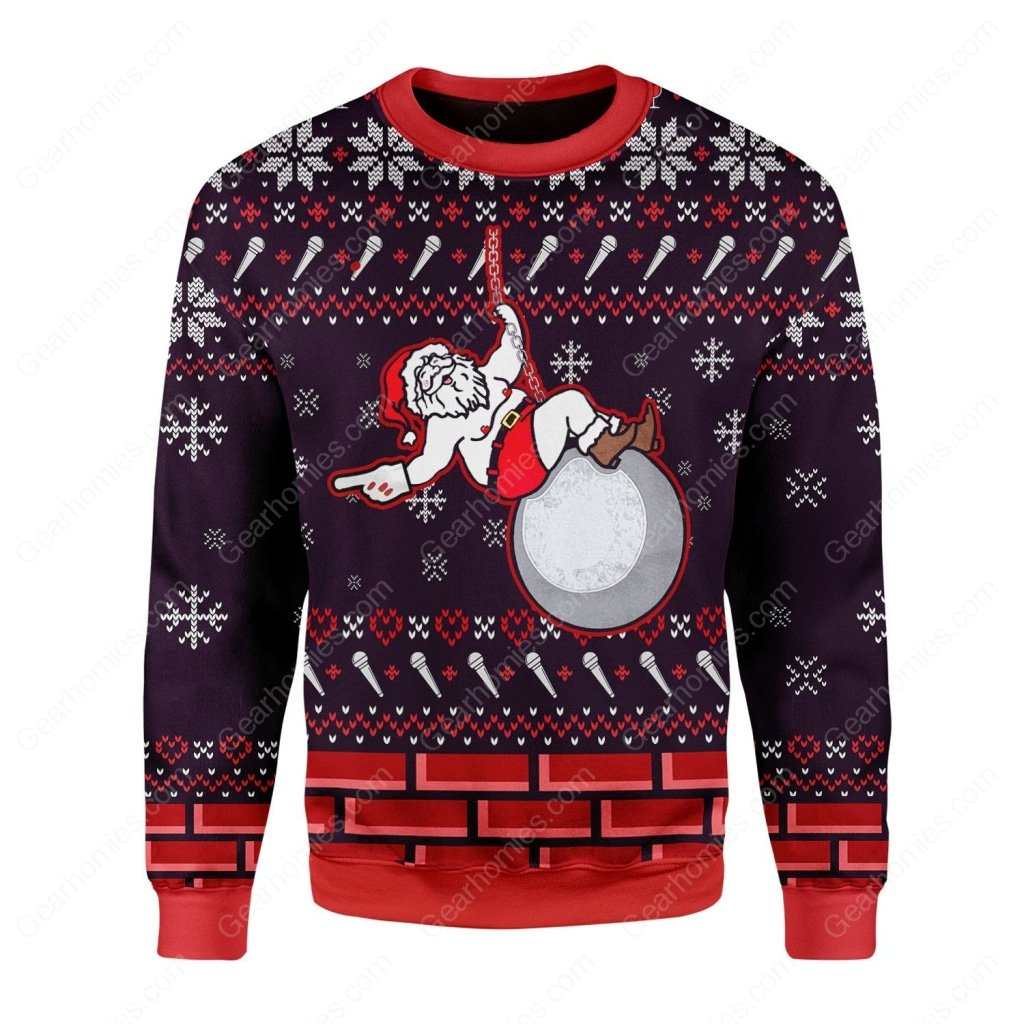 santa claus miley cyrus all over printed ugly christmas sweater 1