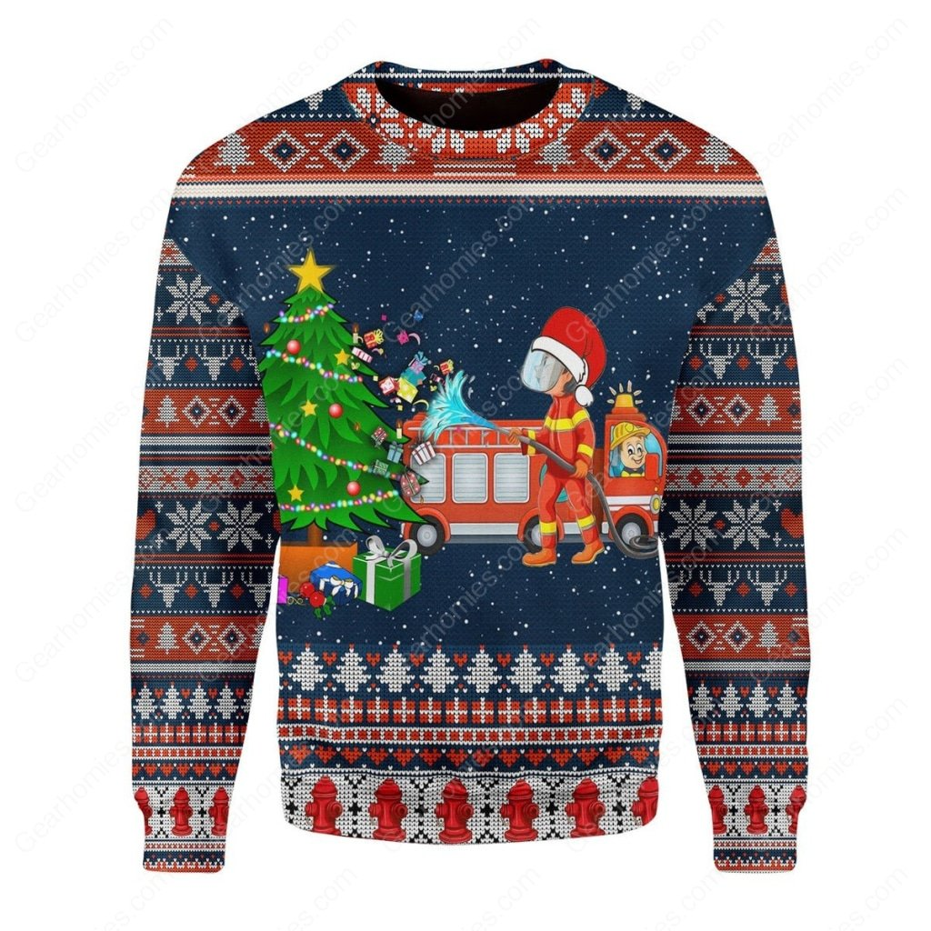 santa firefighter presents all over printed ugly christmas sweater 1