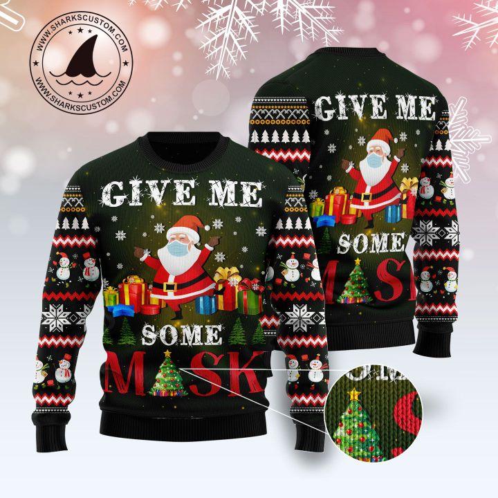 santa give me some mask all over printed ugly christmas sweater 1