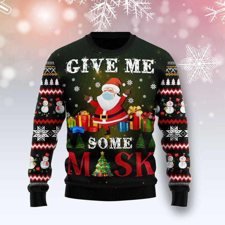 santa give me some mask all over printed ugly christmas sweater 3