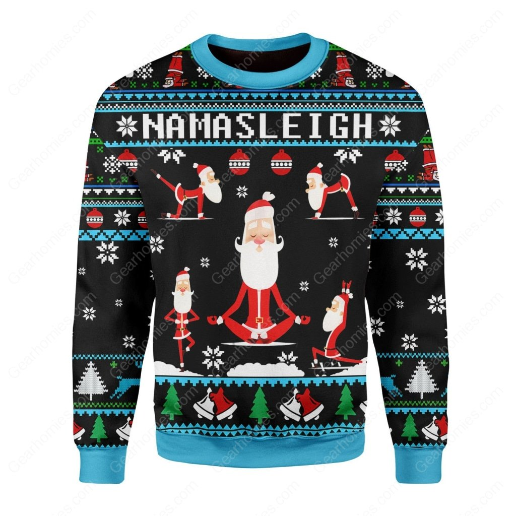 santa namasleigh all over printed ugly christmas sweater 1