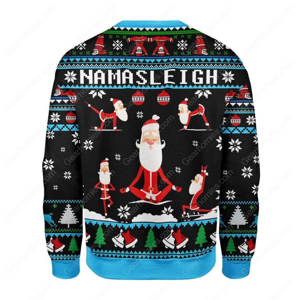 santa namasleigh all over printed ugly christmas sweater 4