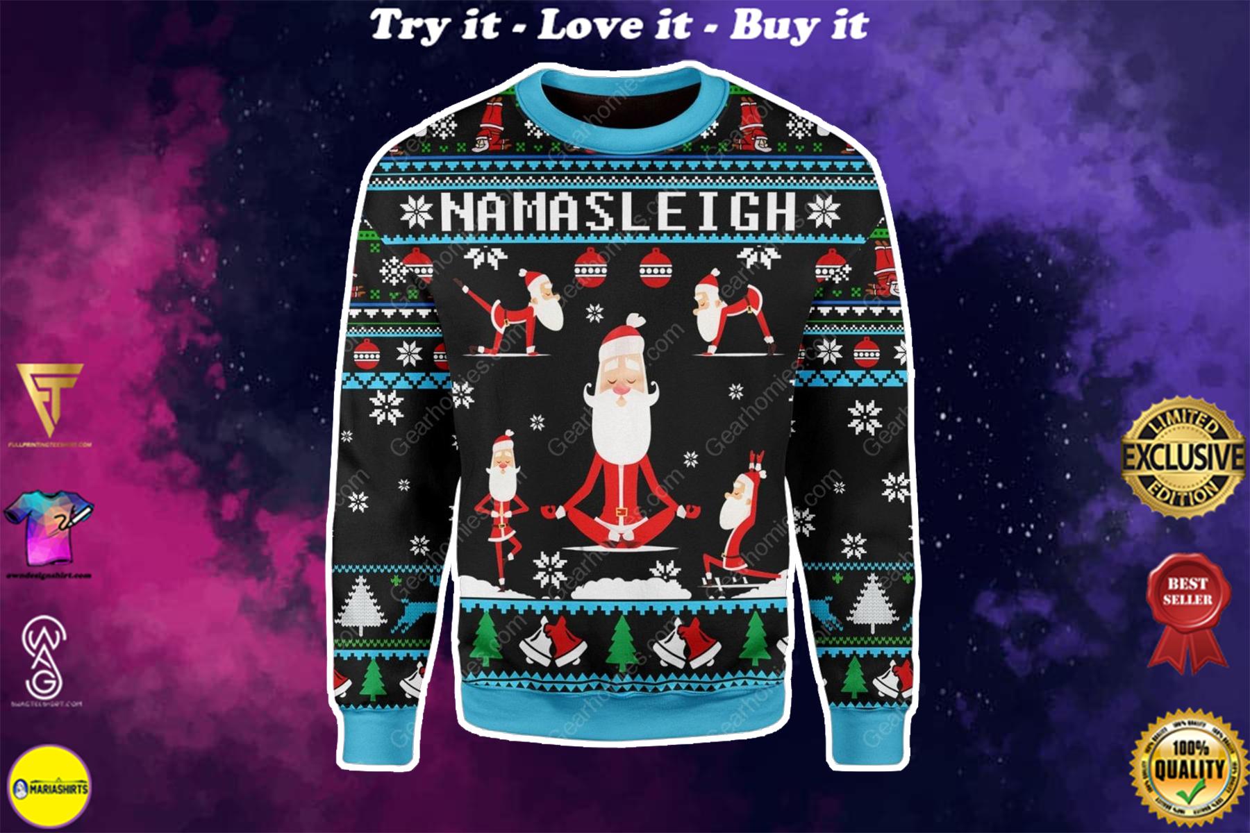 santa namasleigh all over printed ugly christmas sweater
