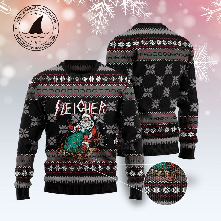 santa sleigher all over printed ugly christmas sweater 1