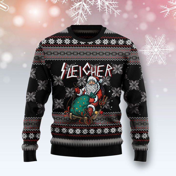 santa sleigher all over printed ugly christmas sweater 2