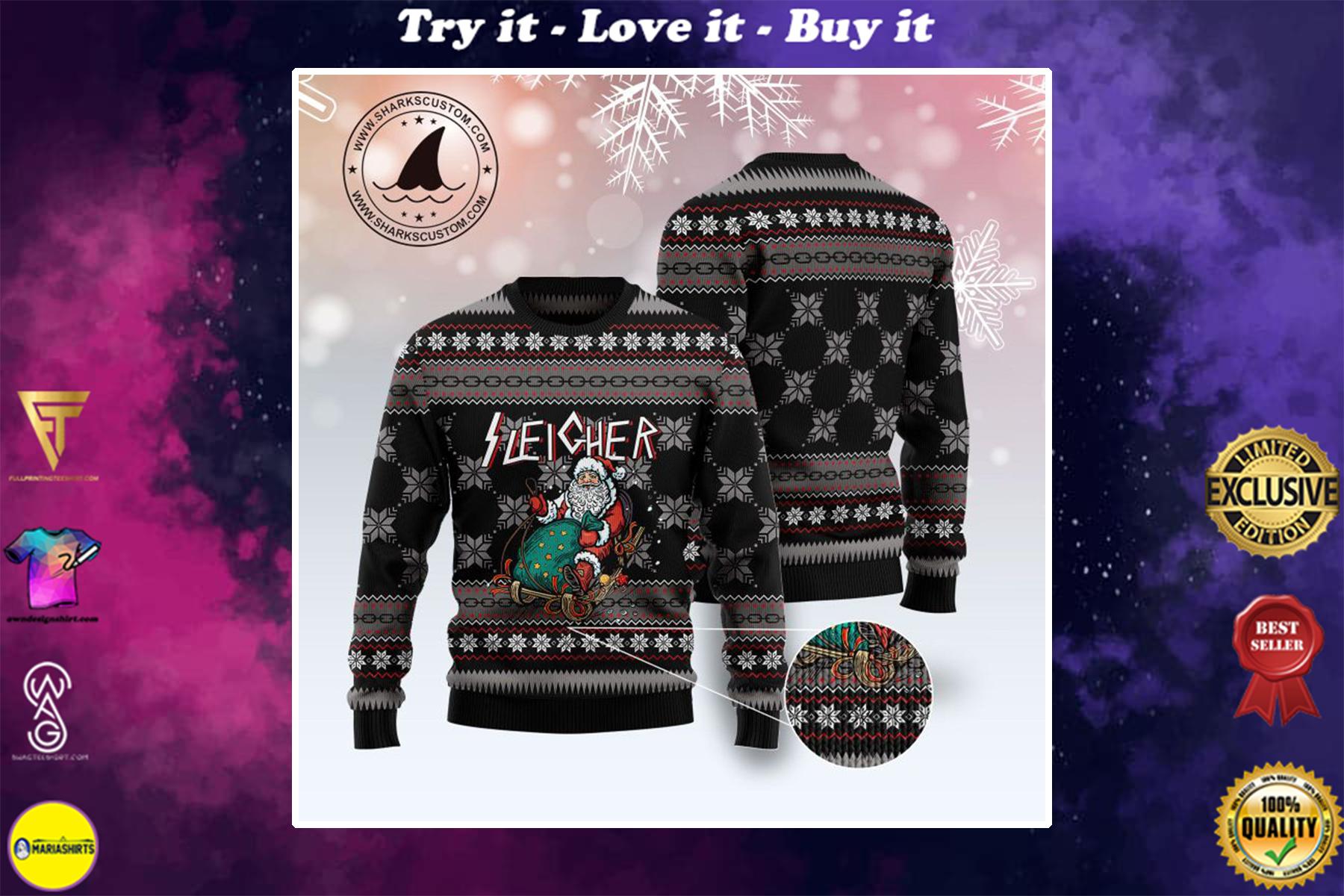 santa sleigher all over printed ugly christmas sweater