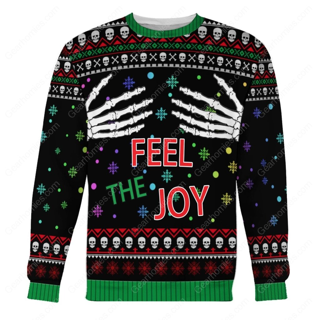 skull feel the joy all over printed ugly christmas sweater 1